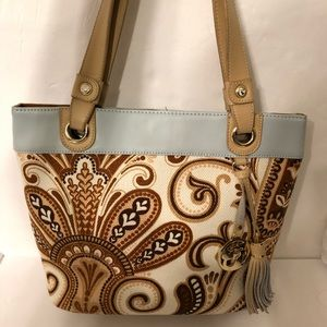 SPARTINA 449 tote bag blue brown with tassel